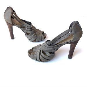 Levity Olive Green Multi Strap High Heels